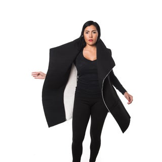 Special One Women's Faux Fur-lined Open-front Trench Coat Cardigan