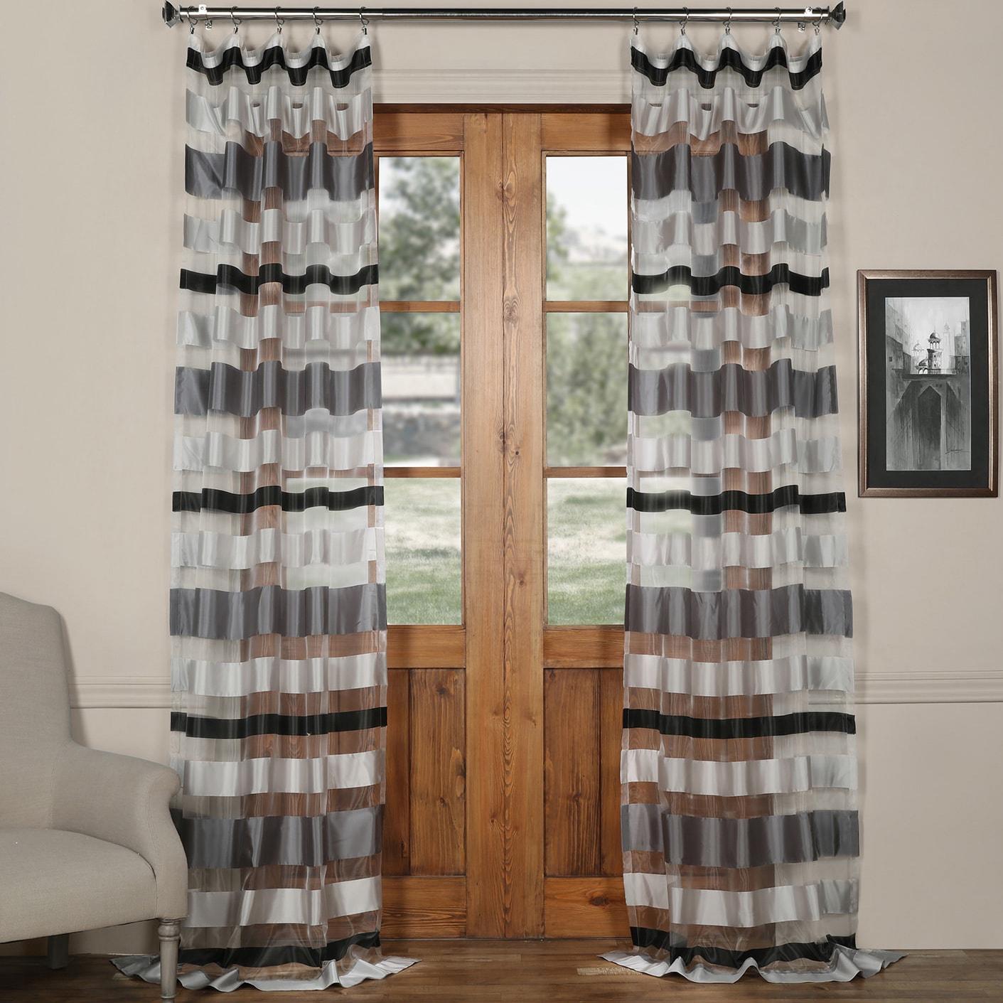 Exclusive Fabrics Organza Horizontal Stripe Sheer Curtain...