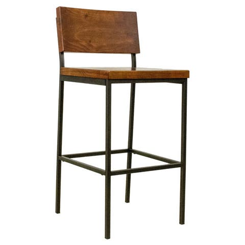 Progressive Sawyer Brown Wood and Metal Bar Stool