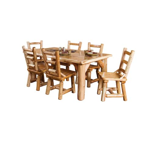 Rustic White Cedar Log Family Dining Table With 6 Chairs - Rustic White