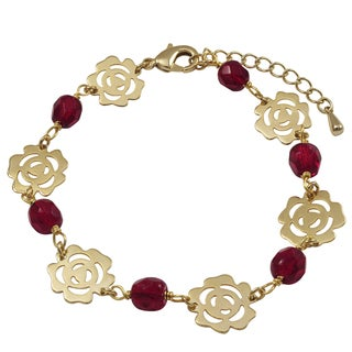 Luxiro Gold Finish Multi-color 6-mm Beads Cutout Rose Bracelet