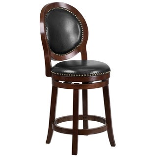 26-inch High Counter Height Wood Barstool with Leather Swivel Seat