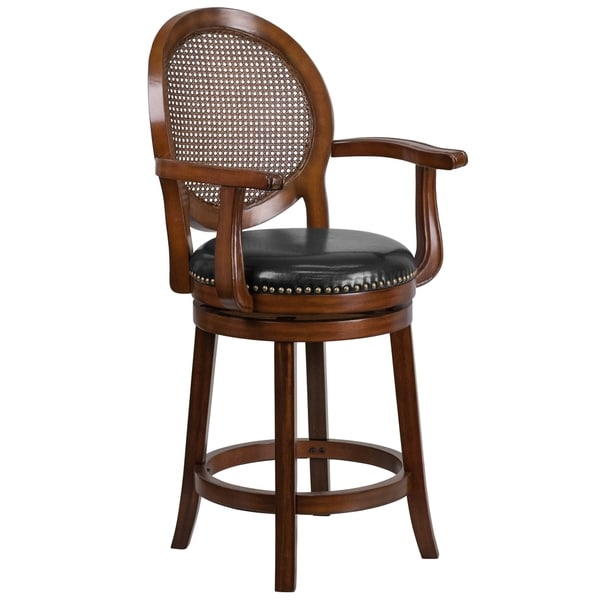 Kitchen Bar Stools Swivel With Arms: Shop 26'' High Wood Counter Height Stool With Arms And