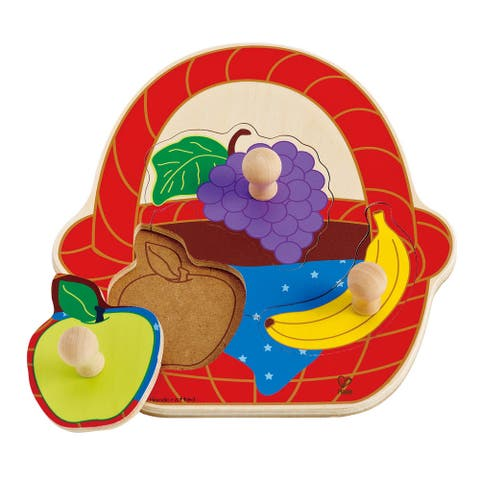 Hape Fruit Basket Wooden Knob Puzzle - Red