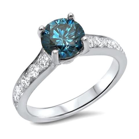 14k Gold 1 1/4ct TDW Blue Round-cut Diamond Engagement Ring - White