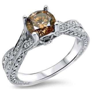 Noori 14k Gold 1 3/5ct TDW Brown Round Diamond Engagement Ring - White G-H