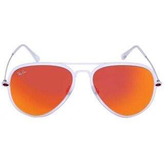 Ray Ban Men's RB4211 Silver Frame Orange Lens Square Sunglasses