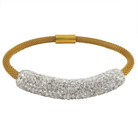 Luxiro Gold Finish Stainless Steel Crystal Bar Mesh Bracelet