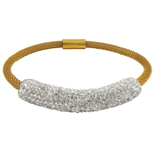 Luxiro Gold Finish Stainless Steel Crystal Bar Mesh Bracelet
