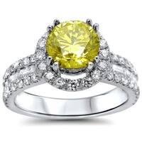 Noori 18k Gold 2 1/10ct TDW Canary Yellow Round Diamond Engagement Ring - White G-H