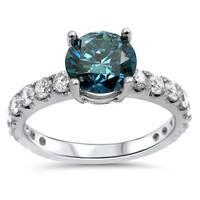 Noori 18k Gold 1 1/2ct TDW Blue Round-cut Diamond Engagement Ring - White