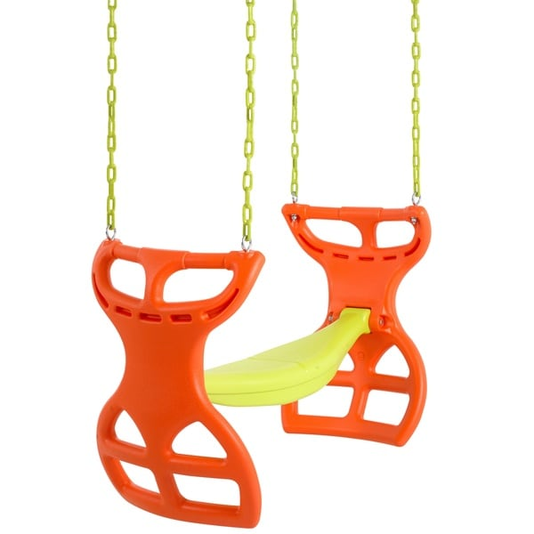 Swingan Two Seater Orange/ Yellow Glider Swing with Vinyl Coated Chain Hardware, and Intallation