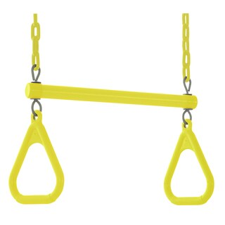 Swingan Yellow Trapeze Swing Bar with Fully Assembled Vinyl Coated Chain