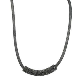 Luxiro Rose Gold Finish Stainless Steel Crystal Bar Mesh Necklace