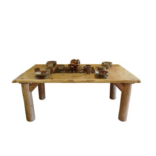 Rustic White Cedar Log Family Dining Table - Rustic White