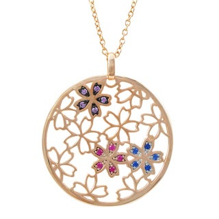 Luxiro Rose Gold Finish Sterling Silver Multi-color Cubic Zirconia Flower Circle Pendant Necklace