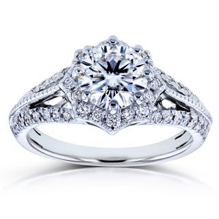 Annello by Kobelli 14k White Gold Forever Brilliant Moissanite and 1/3ct TDW Diamond Star Halo Engagement Ring (GH, I1-I2)