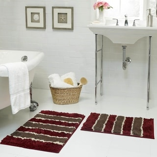 Bathtopia Herald Microfiber Stripe 18 x 30 in. Bath Rug