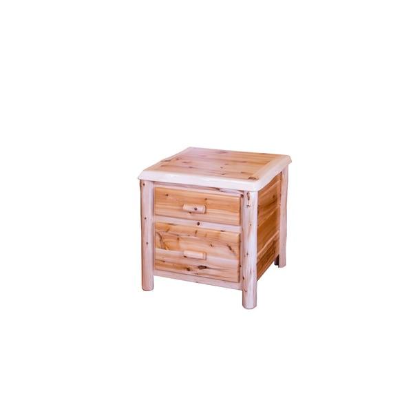 Shop Rustic White Cedar Log 2 Drawer Nightstand/ End Table