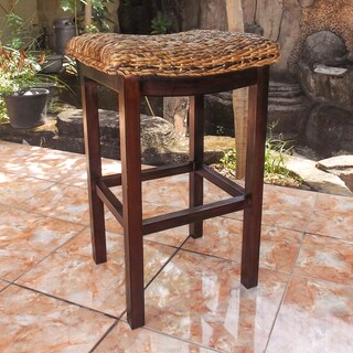 International Caravan 'Arizona' Woven Abaca Saddle-seat Cushioned Mahogany Hardwood Frame Bar-height Bar Stool