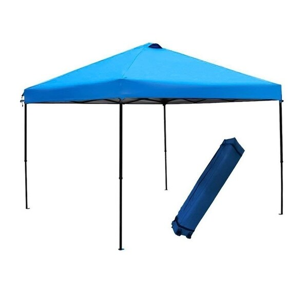 Abba Patio 10x10-foot Blue Outdoor Pop Up Portable Shade Instant Folding Canopy with Roller Bag