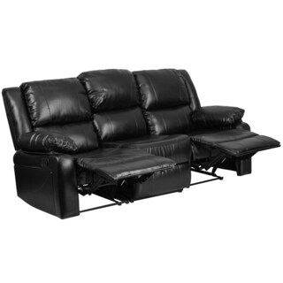 Serenity Classic Black Leather Reclining Sofa