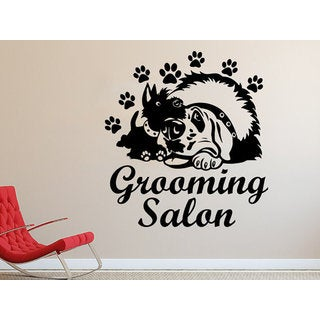 Grooming Salon Decal Vinyl Sticker Pet Shop Animals Sticker Decal size 22x26 Color Black