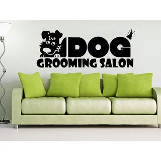 Dog Wall Decals Grooming Salon Decal Vinyl Sticker Pet Shop Animals Sticker Decal size 48x76 Color Black