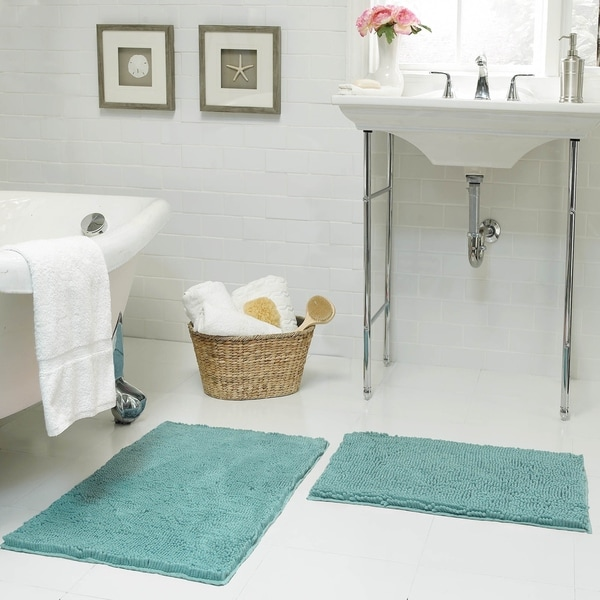 Resort Collection Plush Shag Chenille 2-Piece Bath Mat Set