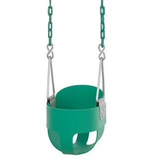 Swingan High Back, Full Bucket Toddler and Baby Green Swing with Fully Assembled Vinyl Coated Chain