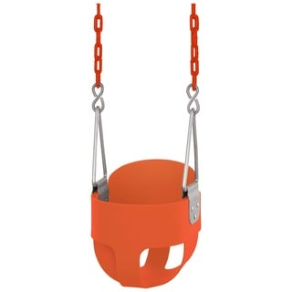 Swingan High-back Orange Bucket Toddler Swing with Vinyl Coated Chain
