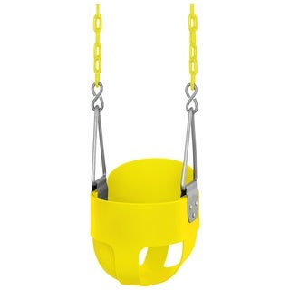 Swingan High Back, Full Bucket Toddler and Baby Yellow Swing with Fully Assembled Vinyl Coated Chain