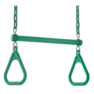 Swingan Green Trapeze Swing Bar with Fully Assembled Vinyl Coated Chain