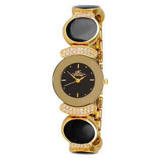 Adee Kaye Women's Goldtone and Black Swiss Elegant Crystal Enamel Watch