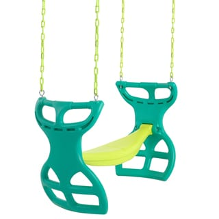 Swingan Green/ Yellow 2-seater Glider Swing with Vinyl Coated Chain Hardware and Intallation