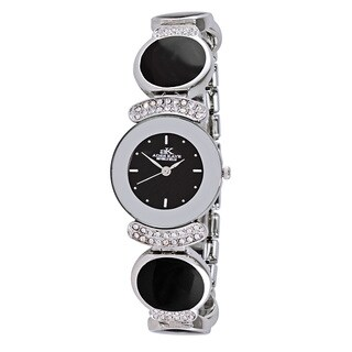 Adee Kaye Women's Silvertone/ Black Enamel/ Crystal Swiss Quartz Watch