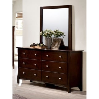 Furniture of America Raylee Modern 2-piece Brown Cherry Dresser and Mirror Set