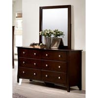 Furniture of America Raylee Modern 2-piece Brown Cherry Dresser and Mirror Set