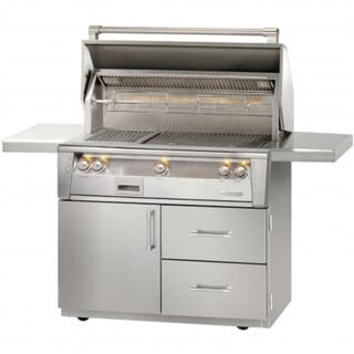 "Alfresco 42"" ALXE SearZone Grill on Deluxe Cart With Rotisserie"