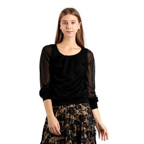Evanese Women's Pleated-neck Blouse Top