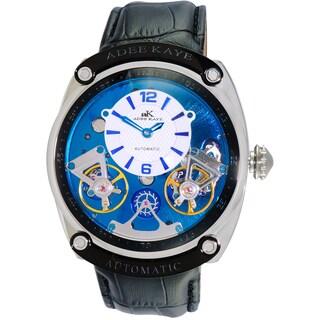 Adee Kaye Men's Blue/ White Stainless Steel 40 Jewel Automatic Watch