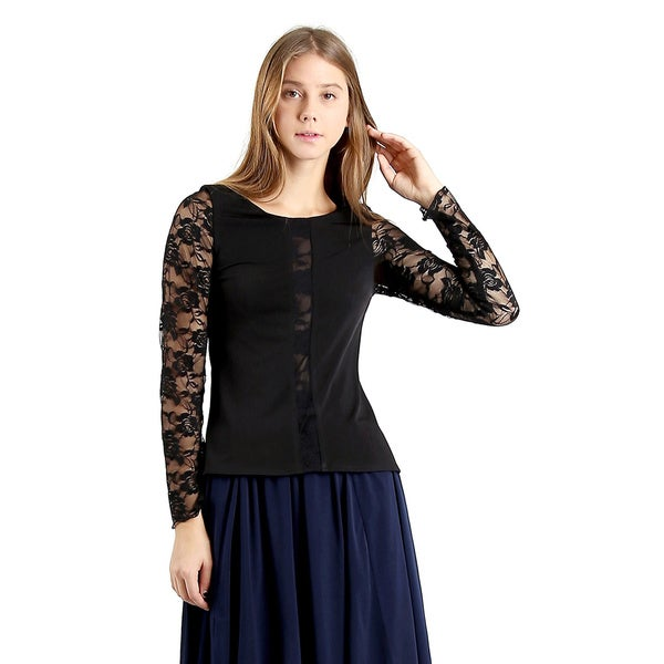 Evanese Women's Long Lace Sleeves Blouse Top