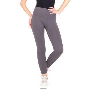Grey High-waist Seamless Cable Knit Fleece Lined Leggings