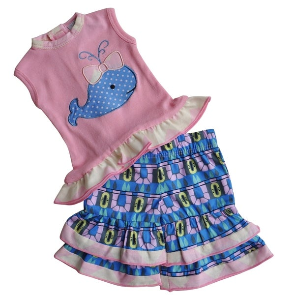 AnnLoren Pink and Blue Cotton High-low Whale Tunic and Capri Doll Outfit
