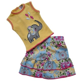 AnnLoren Boutique Yellow Elephant Floral Tunic and Capri Doll Outfit for 18-inch Dolls