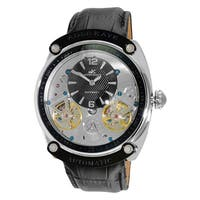 Adee Kaye Men's Black/Silvertone Leather/Stainless Steel 40-Jewel Automatic SS Dome Watch