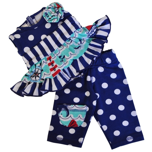 AnnLoren Nautical Dress with Polka Dot Capri Leggings 18-inch Doll Outfit