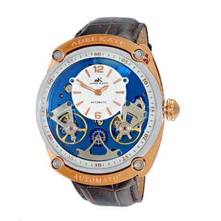 Adee Kaye Men's 40 Jewel Rose-tone Blue-white Dial Brown Strap Automatic SS Dome Watch