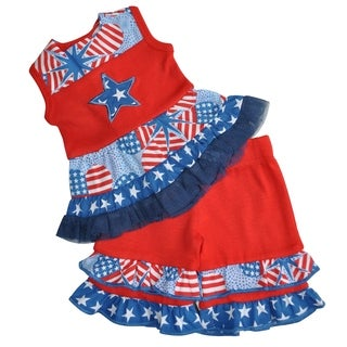 AnnLoren Boutqiue Patriotic Dress and Capri Doll Outfit Fits 18-inch Dolls