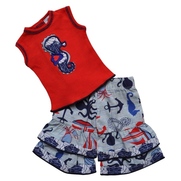 AnnLoren Boutique Nautical Seahorse Tunic and Capri Doll Outfit Fits 18-inch Dolls
